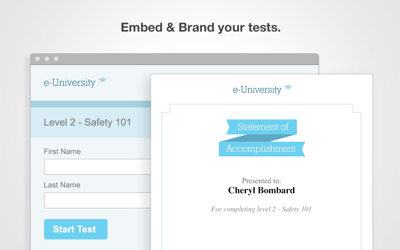 Embed and Brand online exams in ClassMarker